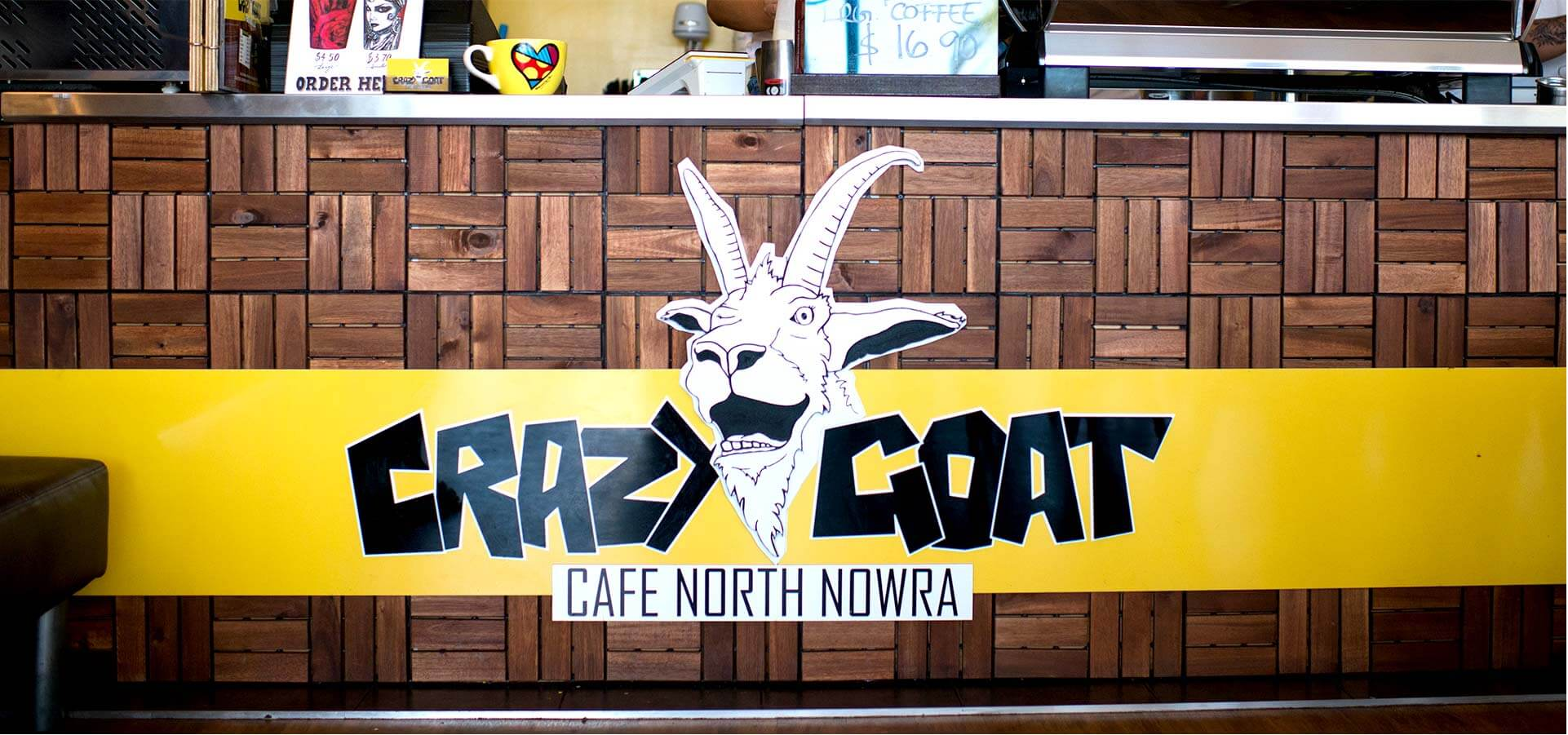 Crazy Goat Front Bench signage
