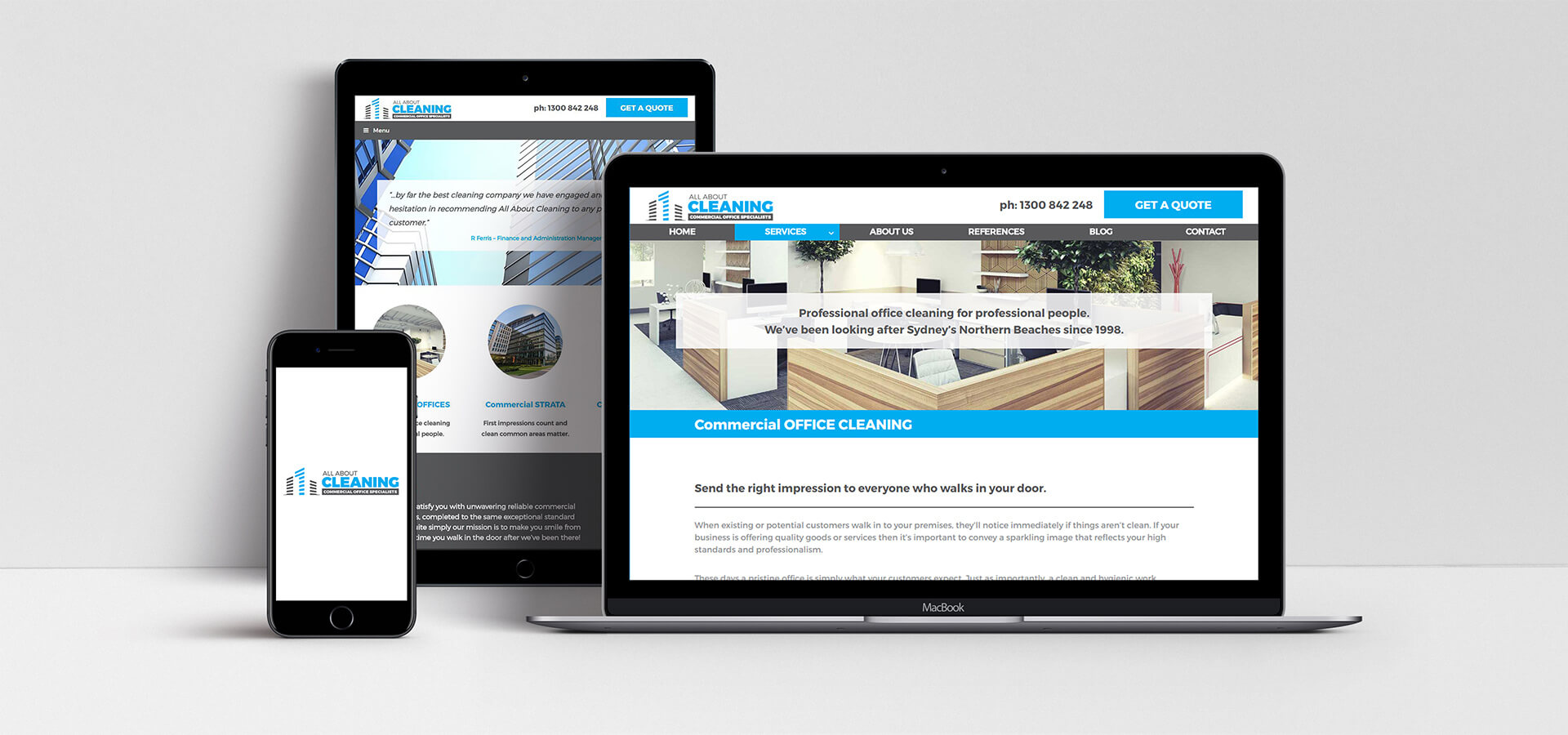 All About Cleaning Website showcase